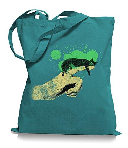 Ma2ca® Cat on Hand Katzen - Jutebeutel Stoffbeutel Tragetasche / Bag WM101 Emerald
