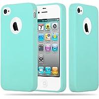 Cadorabo - Cubierta protectora Apple iPhone 4 / 4S de silicona TPU en diseño Candy - Case Cover Funda Carcasa Protección en AZUL-CANDY