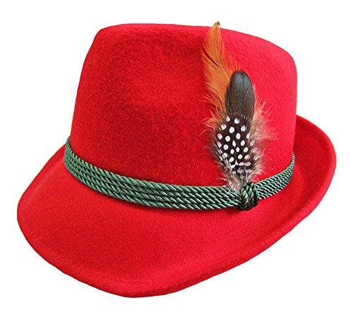 Damen Trachtenhut mit Feder Rot Gr. 56