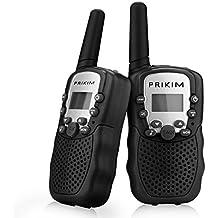 PRIKIM Walkie Talkies para niños 8 canales de mano 2 vías de radio 3 km de largo alcance y sonido claro (1 par) Negro, TK31