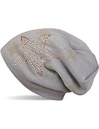 styleBREAKER warme Feinstrick Beanie Mütze mit All Over Stern Muster, Strass Stern und sehr weichem Fleece Innenfutter, Unisex 04024084