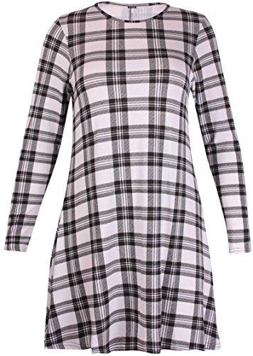 Damen Kleid Top Übergröße Stretch Langarm Rundhals Ausgestelltes Kleid Top Schwarz & Weiß Tartan