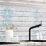 StickerProfis Küchenrückwand selbstklebend - BLAUES Design Holz - 1.5mm, Versteift, alle Untergründe, Hart PVC, Premium 60 x 80cm