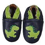 SmileBaby Premium Leder Lauflernschuhe Krabbelschuhe Babyschuhe Schwarz Dinosaurier 18 bis 24 Monate