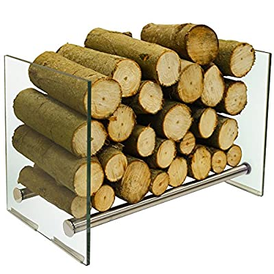 WATSONS OKATON - 58cm Contemporary Tempered Glass and Steel Log Store - Silver