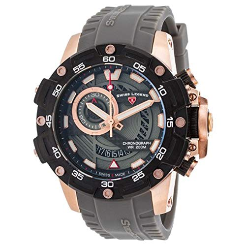 Swiss Legend uomo Orca 48mm silicone Band orologio al quarzo sl-10040sm-rg-014-grys