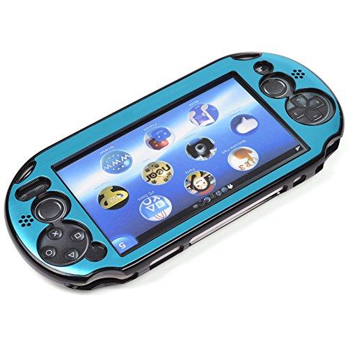 Kosmos® Hellblau Aluminium metallic Schutz Hard Case Cover für Playstation PS Vita 2000& Cosmos LCD Touch Display Reinigungstuch (Nicht für Vita 1000Serie) 2000 Lcd