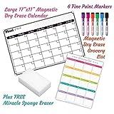 Monthly Magnetic Dry Erase Calendar Set / Large White Board Planner & Grocery List Organiser For Kitchen Refrigerator / Best For Smart Planners