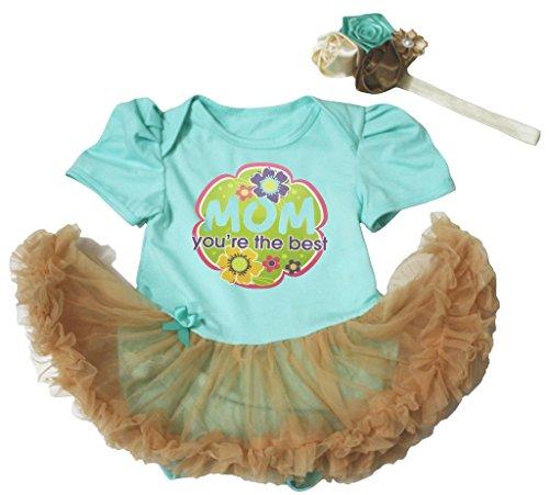 Baby Dress Mom You're the Best Aqua Blue Cotton Bodysuit Gold Tutu Romper Nb-18m (3-6 (Kostüme 6 Re)