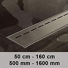 CLP Desagüe de la ducha YARA, canal de ducha de diseño moderno en acero inoxidable, incluido el sifón, hasta 8 tamaños para eligir acero inoxidable, 1200mm / 120 cm