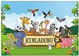 12divertenti biglietti di invito per bambini, a tema giungla, safari, per compleanno, con modelli di testo (in lingua tedesca)