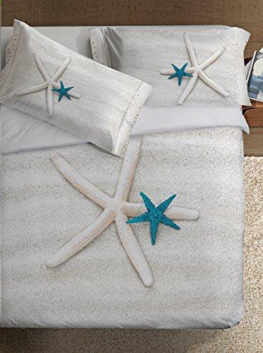 Ipersan Stella Fine-Art Parure Copripiumino Fotografico, Piazzato, Cotone, Beige/Turchese/Bianco, Matrimoniale