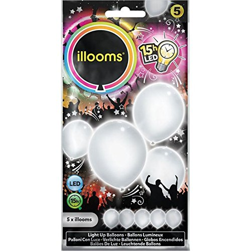 5 Ballons LED blancs Illooms