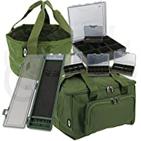 NGT pesca de Carpa 4+1 Tackle Box JUEGO + quickfish Carry All Rígido porta-aparejos & Bowl