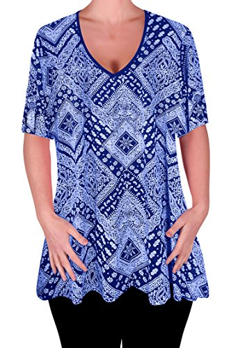 Eye Catch - Aux Femmes Impression V Neck Chemisier Tunique Dames Balançoire Éclairé T-Shirt Tops Royal Bleu
