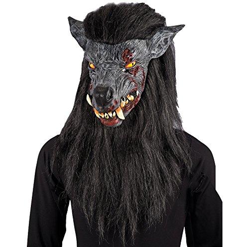 Carnival Toys 01025 - Wolfsmaske für Erwachsene mit Haar (Werwolf Erwachsene Kostüme)