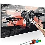 murando - Malen nach Zahlen Afrika Elefant 80x40 cm Malset mit Holzrahmen auf Leinwand für Erwachsene Kinder Gemälde Handgemalt Kit DIY Geschenk Dekoration n-A-0263-d-a