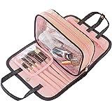 sciuU Borsa per Toilette/Borsa Cosmetica Impermeabile da Viaggio, Portatile Beauty Case, Multiuso Organizzatore in PVC per Accessori Trucco, Viaggi o Casa, Rosa & Nero