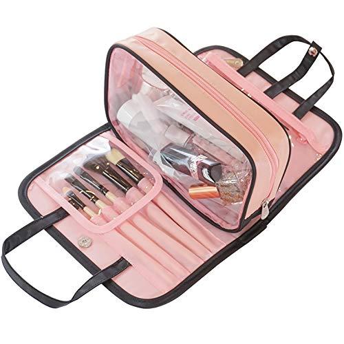 sciuU Wasserdichte Kulturbeutel/Reise Kosmetiktasche, tragbarer Schönheitskoffer, Mehrzweck PVC Make-up Organiser, für Reise- oder Wohnaccessoires, Pink & Schwarz