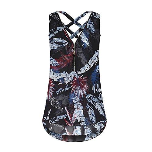 VEMOW Heißer Sommer Damen Mädchen Frauen Tägliche Beiläufige Art und Weise Lose Sleeveless Trägershirt Kreuz Zurück Saum Layed Zipper V-Ausschnitt T-Shirts Tops Pullover(Y1Schwarz, EU-38/CN-S)