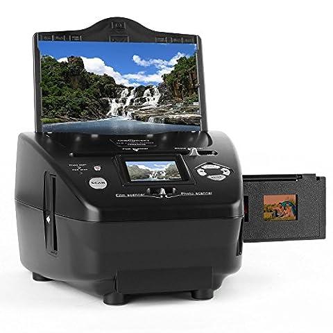 oneConcept 179B Combo Dia Scanner Film-Scanner Foto-Scanner (5,1 Megapixel CMOS-Sensor für Negative, 6cm TFT Monitor, SD-USB Anschluss, Computer-unabhängige Scan-Lösung) schwarz