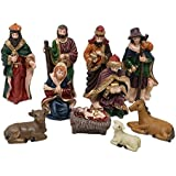 Salvus App SOLUTIONS 10 Piece Christmas Nativity Crib Set Decoration Baby Jesus-3.45 Inches (Medium Size), Christmas Crib Nativity Set