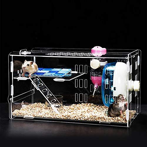 Keby 2019 Cage à Hamster en Acrylique avec Bol Alimentaire Transparent, Bouilloire, Roue de 12 cm pour Petit Animal Hamster avec Accessoires