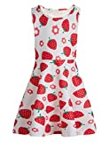 Funnycokid Ragazze Sleeveless Dress Strawberry Printing Casual Party Wear 10-13 T