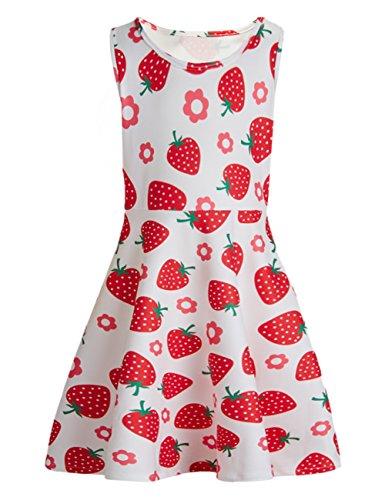 chicolife Sweet Teen Girls Floral Erdbeere gedruckt Sommer ärmellose Casual Kleider weiß und Rosa