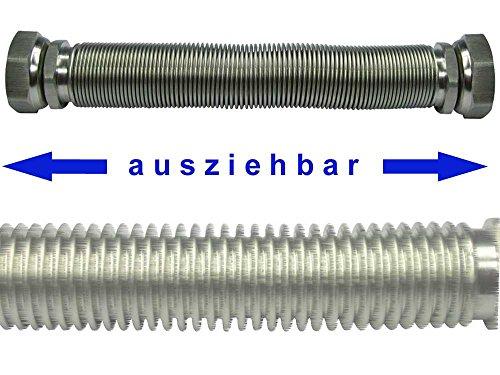 Edelstahlwellrohr ausziehbar, DN20, beidseitig 3/4\' ÜM, Highflex Edelstahlschlauch 1.4404, formstabil, variable Längen, Biegeradius nur 17 mm, Schlauchlänge variabel:von 110 bis 210 mm