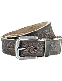"Jeans belt black, used look, unisex, width: 1.5"", Buckle: 2.2 x 2.05"""