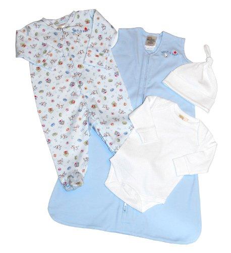 Halo Sleep Four Piece Take-Me-Home Set Preemie Blue Dog Print Preemie-shirt