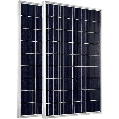 ECO-WORTHY 200W Pannello Solare Fotovoltaico - 2 x 100W 12V Policristallino Impianto Camper Barca Baita