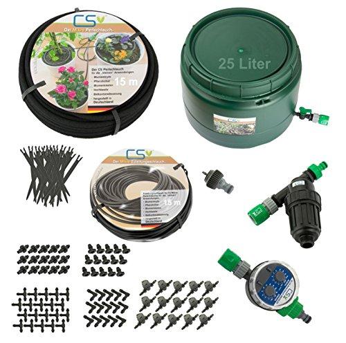 CS Mikro 15m Bewässerungs-Set Z3.16 Blumentopf, Pflanzkübel, Terrassen- und Urlaubsbewässerung mit 25l Vorratsbehälter
