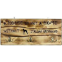 Galgo italiano, Una clavija de pared de madera, percha con la imagen de un perro