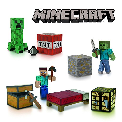Minecraft™ 3PC Overworld Collectible Toy Sets consisting of Minecraft Survival Pack, Minecraft Creeper & Minecraft Zombie Figures Fully Articulated Highly Collectible Gaming Models Gift Ideas - Genuine Mojang Merchandise