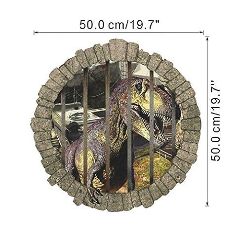 Zuolanyoulan 3D Stereoskopische Dinosaurier Muster Wandsticker Kinder Schlafzimmer Wandtattoos Wohnzimmer Fensterglas Dekorativen Entfernbare Wandaufkleber Raum Dekor Wall Sticker