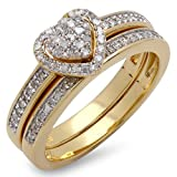 Bague Femme / Alliance Diamants 0.23 ct 18 ct 750/1000 Or Jaune Plated Silver Rond Diamants Coeur 1/4 ct...