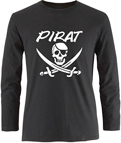 EZYshirt® Pirat Herren Longsleeve Schwarz/Weiß