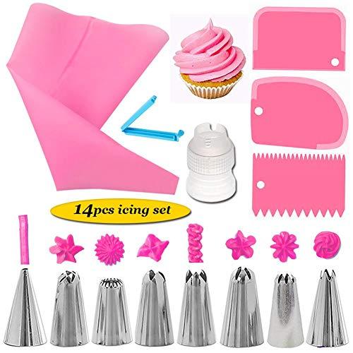 Waroomss Piping Tip Set, 14PCS Backenwerkzeuge, Kuchen Dekorieren Set mit Plattenspieler, Backenwerkzeuge mit Abstrich Schaber Konverter (Plattenspieler Mit Konverter)