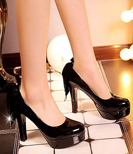 Aisun Femme Elégant Nœud Papillon Plateforme Escarpins Noir