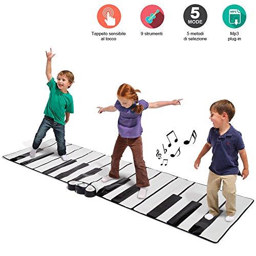 Bakaji tappeto con tastiera musicale super gigante per bambini da pavimento con amplificatore integrato e ingresso mp3 per riproduzione musicale, 260 x 74cm jumbo keyboard playmat