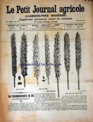 PETIT JOURNAL AGRICOLE (LE) [No 475] du 05/02/1905 - LES ENSEMENCEMENTS DE BLE AU PRINTEMPS - LES CHAMPS - LA FERME - LES VIGNES - PETITES CULTURES par Collectif