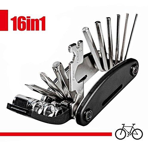 iNeith Fahrrad Reparatur Multifunktionswerkzeug 16 in 1 Set Fahrradwerkzeug für Fahrräder Mini Falt Multitool Werkzeug (Allen Hex Key)