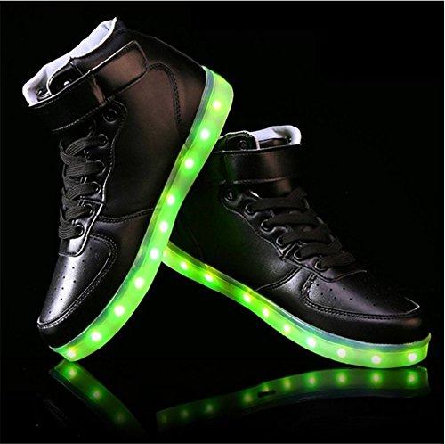 myroads 7couleurs de charge USB Chaussures Sneakers clignotant LED Baskets haute Top Light Up Chaussures Unisexe Homme et Femme Noir - Noir