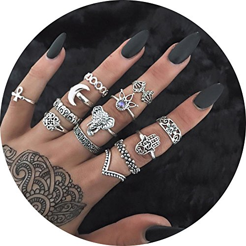 13pcs Orientalisches Vintage Fashion Midi Ringe Fingerring-Set für Damen Mädchen, Fashion Frauen Midi Ring Nagel Finger Band (Silber Band Damen Ringe)