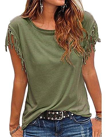 Yidarton Damen Sommer Casual Bluse Quaste Knot Ärmel Tank Tops T-Shirt Oberteile (S, Grün)