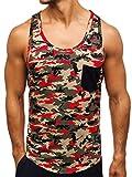 BOLF Herren Tank Top T-Shirt Muskelshirt Achselshirt mit Aufdruck Camo Army Motiv Sport Style Madmext 2272C Mehrfarbig M [3C3]