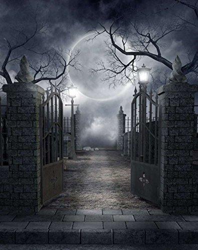 rgrund Bäume Nacht Mond Kürbisse Fotografie Studio Hintergrund Booth Shoot Prop 5x 7ft (Kürbis-prop)