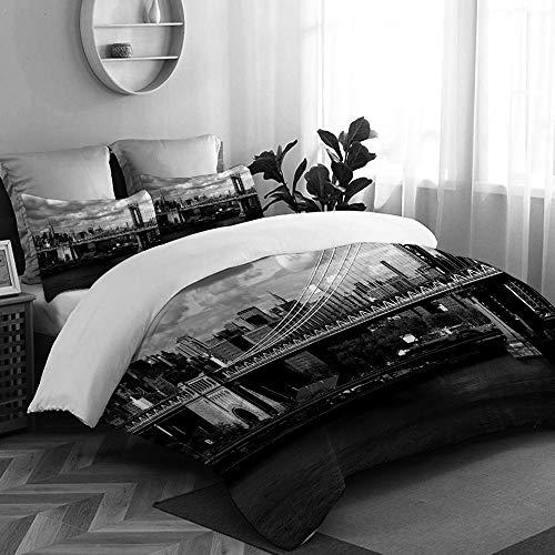 King Duvet Insert (TESCCI Bettwäsche-Set, Mikrofaser,Schwarzweiss-Panorama von New- York Cityskylinen mit Fokus auf Manhattan-Brücken-Foto,1 Bettbezug 160 x 200cm+ 2 Kopfkissenbezug 80x80cm)